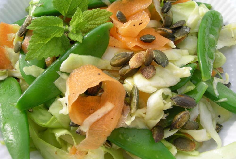 Salat af sommerkål med hyldeblomstdressing