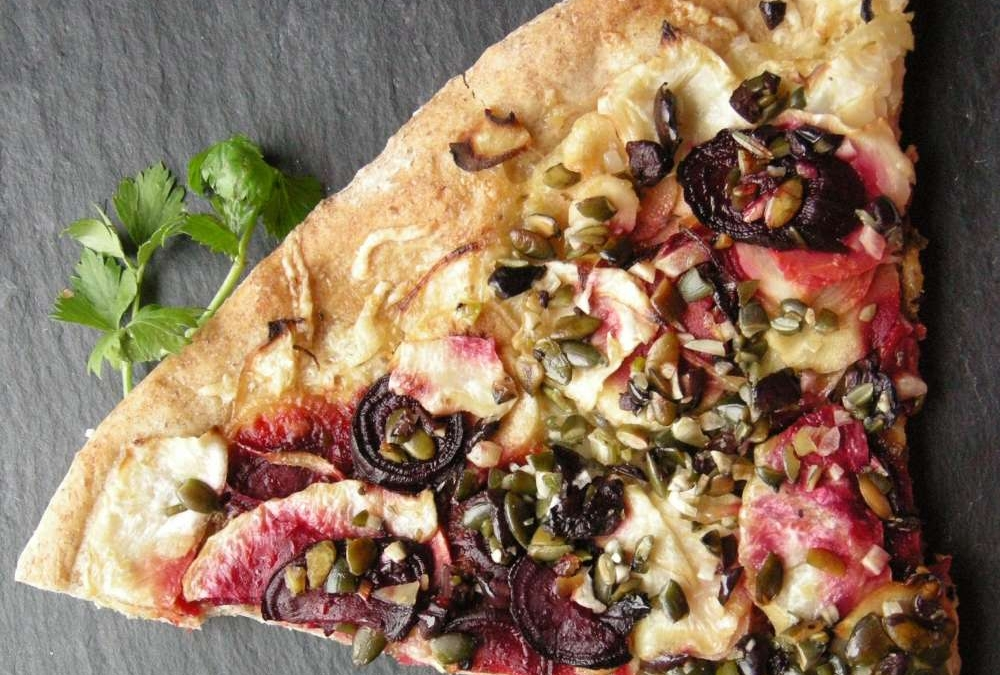 Herlig pizza med rodfrugter