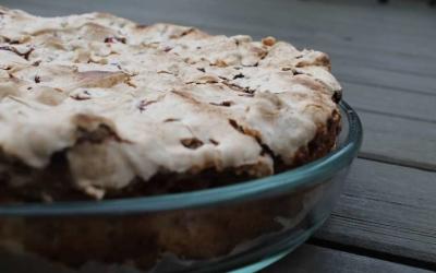 Herlig dessertkage med rabarbermarengs